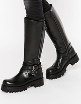 Park Lane Strap Chunky Leather Knee Boots