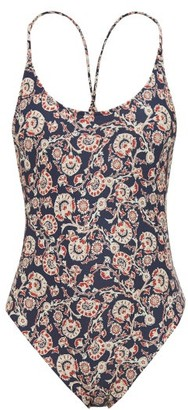 The Upside Crawford Floral-print Scoop-back Swimsuit - Womens - Blue Multi