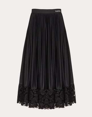 Valentino Jersey And Heavy Lace Pleated Skirt Women Black Polyester 100% L