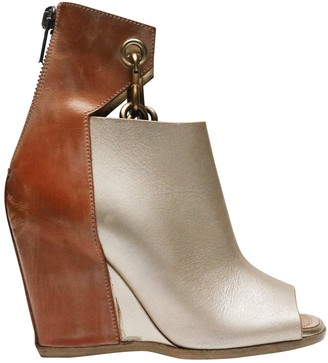 Rick Owens Silver Leather Ankle boots
