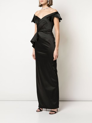 Marchesa Notte Off-The-Shoulder Fitted Gown