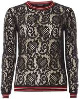 Dorothy Perkins Black Tipped Lace Knitted Jumper