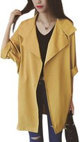 uxcell Women Split Lapel Dolman Sleeve Front Opening Casual Trench