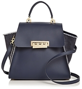 Zac Posen Eartha Iconic Denim Panel Top Handle Leather Satchel