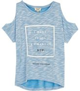 River Island Mini girls blue cold shoulder t-shirt