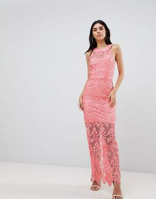 Paper Dolls Lace Midi Dress-Pink