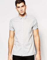 Asos Regular Fit Herringbone Shirt In Gray