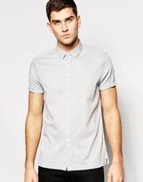Asos Shirt In Gray Herringbone With Short Sleeves In Regular Fit