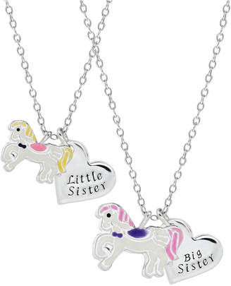 Children Unicorn Sisters Necklace Two Piece Set in Sterling Silver