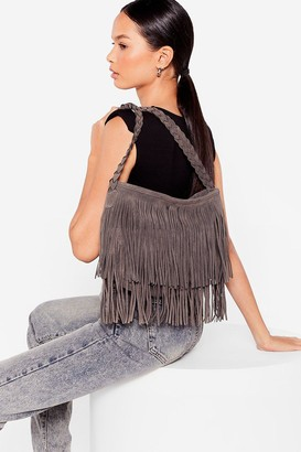 Nasty Gal Womens WANT Faux Suede a Promise Fringe Crossbody Bag - Grey - One Size
