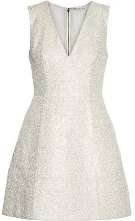 Alice + Olivia Pacey Metallic Cotton-Blend Tweed Mini Dress
