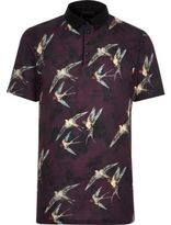 River Island Red Bird Print Slim Fit Polo Shirt