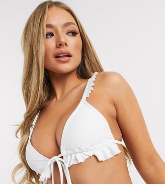 South Beach Exclusive layered frill triangle bikini top in white