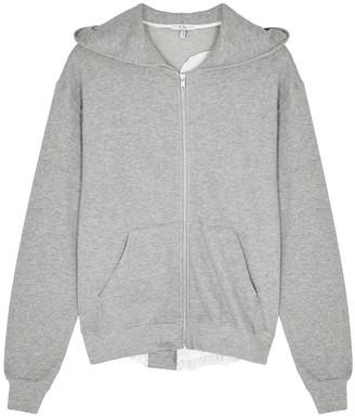 Clu Grey Satin-trimmed Cotton Sweatshirt
