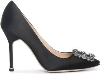 Manolo Blahnik Hangisi 105 black satin pump