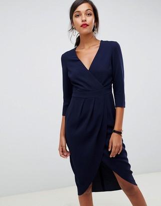 Asos Design DESIGN midi dress with wrap skirt