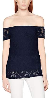 Dorothy Perkins Women's Navy Lace Bardot Top Off-Shoulder Blouse,Size