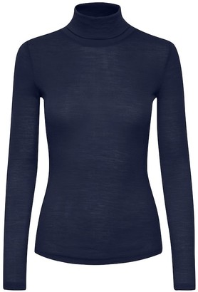 Gestuz WilmaGZ Peacoat Navy Rollneck - navy blue | wool | Sz M - Navy blue