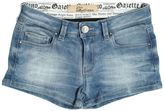 John Galliano Rhinestones Patch Stretch Denim Shorts