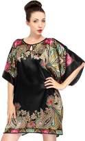 Simplicity Silky Kimono Nightgown w/ Side Slits, Keyhole Neck