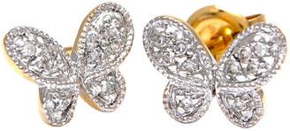 Diamond Select Cuts 14K 0.08 Ct. Tw. Diamond Butterfly Earrings