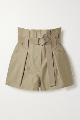 IRO Bordina Belted Pleated Cotton-twill Shorts