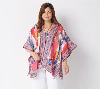 Tolani Collection Petite Printed Open Front Woven Kimono