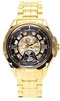 Lindberg & Sons SK14H030 - wrist watch for men - skeleton - automatic movement analog display - black dial - Bracelet Acier Or