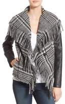 GUESS Women's Fringe Trim Glen Plaid Faux Leather Moto Jacket