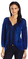 Lucky Brand Women's Embroidered Peasant Top In Blue Multi