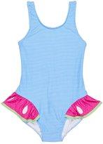 Florence Eiseman Stripe One-Piece Swimsuit w/ Watermelon Ruffle, Size 6-24 Months