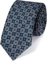 Charles Tyrwhitt Indigo Silk Mix Printed Donegal Luxury Tie