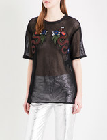 Sandro Patch-embroidered cotton T-shirt
