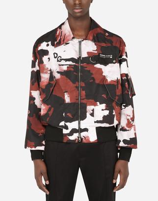 Dolce & Gabbana Camouflage-Print Nylon Jacket With Multiple Logos