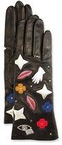 Agnelle Emblem Embroidered Leather Gloves, Black