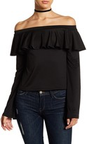 Mimichica Mimi Chica Long Sleeve Off-the-Shoulder Ruffle Blouse