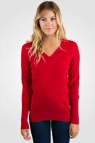 Jennie Liu Red Cashmere Long Sleeve Ava V Neck Sweater