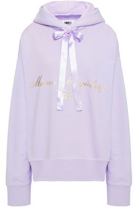 MM6 MAISON MARGIELA Satin-trimmed Cutout Printed French Cotton-terry Hoodie