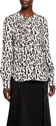 Jason Wu Collection Snow-Leopard Crepe Ruffled Shirt