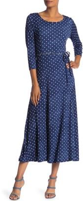 Nina Leonard Polka Dot 3/4 Sleeve Midi Dress