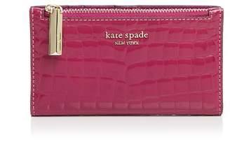 Kate Spade Sylvia Croc-Embossed Slim Bi-Fold Wallet