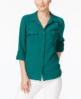 NY Collection Petite Textured Roll-Tab Shirt