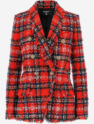 Balmain Tartan Pattern Tweed Women's Blazer