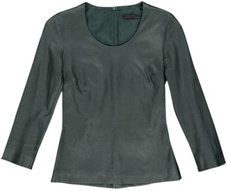 The Row Green Leather Tops