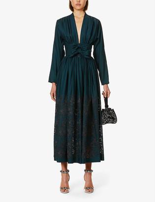 Azzedine Alaia Broderie-pattern wool-blend maxi dress