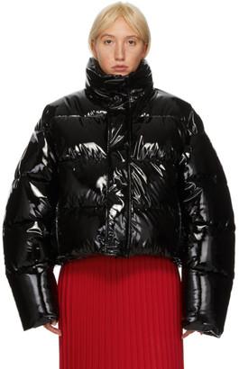 Balenciaga Black Shiny Cropped Puffer Jacket