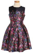Oscar de la Renta Girl's Chine Garden Mikado Party Dress