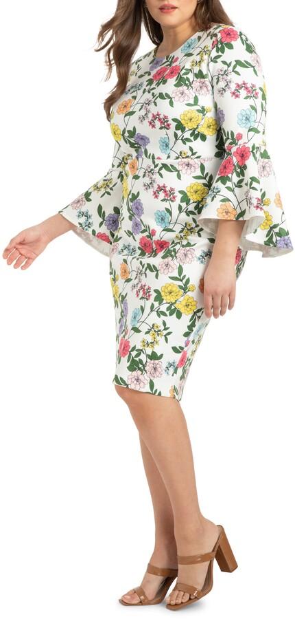 ELOQUII Floral Print Flare Sleeve Scuba Crepe Sheath Dress