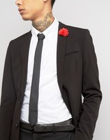 Asos Tie With Red Flower Lapel Pin Pack