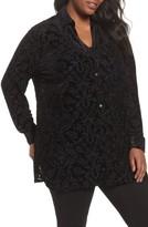 Foxcroft Plus Size Women's Jade Velvet Burnout Blouse